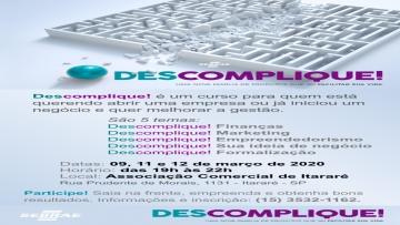 ACEI promove curso Descomplique.