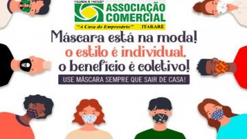 A partir do dia 27 de Abril é obrigatorio uso de máscara em Itararé